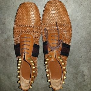 Gucci Studded woven leather shoes